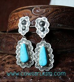 Vintage Revival Ornate Turquoise Clip Earrings from Cowgirl Kim