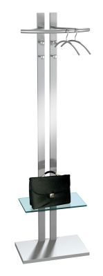 G8 Double Pillar Coat Stand With Utility Shelf In Safety Glass, 4 Hooks And A Heavy Stabliliser Base In Silver
