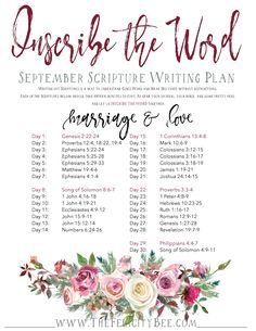 Inscribe The Word Scripture Writing Plans for September will focus on the Biblical Principles of Marriage and Love. Join us for this Bible Study as we discover what the Bible tells us about Love and Marriage at THE FELICITY BEE.