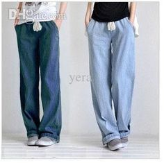 Reliable online source for cheap jeans. The  wholesale-women's plus size clothing casual baggy jeans elastic waist straight wide leg pants lacing trousers is one of the best selling item in yera store and always enjoys the highest popularity.