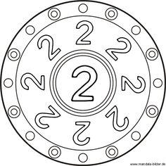 Kindermandala mit der Zahl zwei als kostenlose Zahlenvorlage zum Ausdrucken