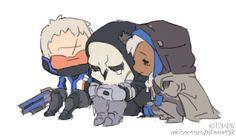 无毒壶的微博_微博.Overwatch Soldier76, Reaper and Ana.