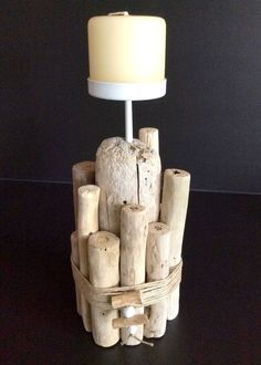 Floated Wooden Candle by - Wood Decora la Maison Driftwood Furniture, Driftwood Lamp, Driftwood Crafts, Antique Lamps, Vintage Lamps, Lamp Tattoo, Green Lamp Shade, Kids Lamps, Nativity Crafts