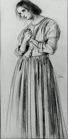 Augustus John, Dorelia, c 1910, Chalk on paper, 14 3/8 x 7 inches