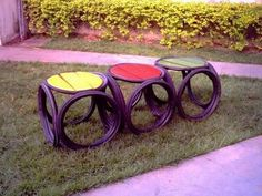 Environmental Sculpture, Tire Craft, Tire Furniture, Reuse Old Tires, Tire Chairs, Ways To Recycle, Love Garden, Repurposed Items, Recycling Bins