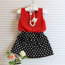 2015 nuevo conjunto casual de verano para niñas juego de ropa para niña incluye camisita y falda tipo tutú ropa infantil(China (Mainland))