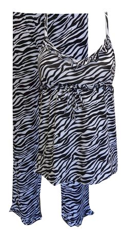 Black And White Zebra Babydoll Pajama, $24  Adorable! These pajama sets for women are a traditional black and white striped zebra pattern. The top features pretty babydoll styling with ruffle details and the elastic waist pant has a ruffle at the bottom hem. Machine wash. Junior cut.