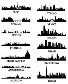 Silouettes of great cities all over the world