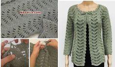 Crochet Cardigan Pattern, Knit Crochet, Knitting Patterns, Crochet Patterns, Crochet Clothes, Chevron, Sewing, Sweaters, Fashion