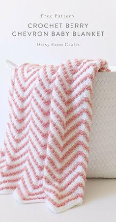 Crochet baby blanket 775533998309063634 - Free Pattern – Crochet Berry Chevron Baby Blanket Source by allyntel Afghan Crochet Patterns, Crochet Patterns For Beginners, Crochet Afghans, Baby Afghans, Crochet Baby Blanket Beginner, Crochet For Baby, Crochet Yarn, Crochet Blankets, Chevron Crochet