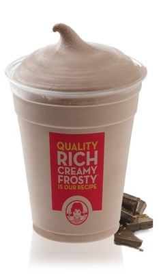 Mock Wendy's Frosty: 80 calories, 0.5 g fat. Blend:1 CUP milk, 2 TBSP Sugar & Fat Free Chocolate Pudding Mix, 1 TSP Vanilla Extract