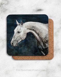 Dappled Gray Horse Head Art Corkback Coasters Set (4)