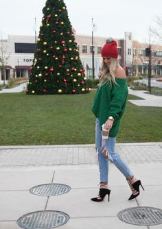 Green Sweater   Red Beanie