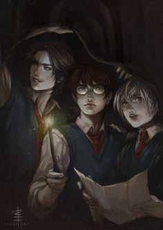 Marauders- Sirius, James, and Peter by juhaihai.deviantART.com on @deviantART #harrypotter #fanart