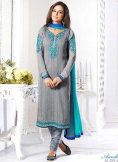 Fantastic Grey Embroidery Work Jacquard With Georgette Churidar Suit  http://www.angelnx.com/Salwar-Kameez/Churidar-Suits