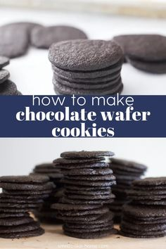 Crispy chocolate wafers are so easy to make at home! Use them for icebox cake or cupcakes, cookie crumbs, ice cream sandwiches, or just to eat plain! Chocolate Wafer Cookie Recipe, Nabisco Famous Chocolate Wafers, Chocolate Biscuits, Homemade Chocolate, Eggless Chocolate Cookies, Almond Cookies, Cake Chocolate, How To Make Chocolate, Healthy Cookie Recipes
