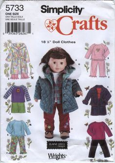 """Simplicity 5733 18"""" Doll Clothes"""
