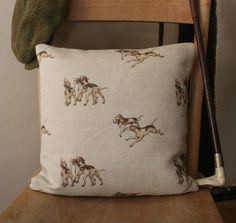 Handmade Feather Filled Linen Cushion in Emily Bond Hounds Burlap Pillows, Throw Pillows, Country Cushions, Emily Bond, Neutral Colors, Colours, Fabric Covered Button, Soft Furnishings, Family Room