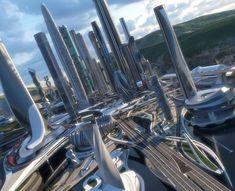 Futuristic City, Futuristic Architecture, City Architecture, Cartoon Trees, Ruined City, Future Buildings, Tower Building, Central Business District, Dream City