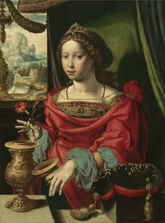 16th C. Antwerp school - THE MAGDALENE SEATED AT A TABLE BY A WINDOW, OPENING A GOLD-ENCRUSTED URN. 1532