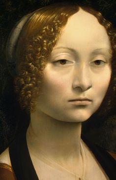 'Ginevra de' Benci' (detail), 1474-78 - Leonardo da Vinci. Le portrait de Ginevra de' Benci est un tableau qui a été peint vers 1474 – 1476 à l'huile sur bois et à la détrempe sur du bois de peuplier. Il est exposé à la National Gallery of Art de Washington.