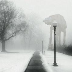 Star Wars AT-AT at the park.