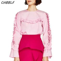 New Spring 2017 Europe Tencel Frilled Blouse Fashion Flare Sleeve Ruffles Lady Pink Shirt Ygb541