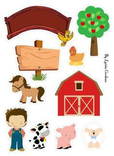 Topo de Bolo Fazendinha para editar e imprimir grátis - Mimo Kids Farm Animal Party, Barnyard Party, Baseball Theme Birthday, Farm Birthday, Farm Crafts, Diy And Crafts, Farm Party Invitations, School Murals, Farm Theme