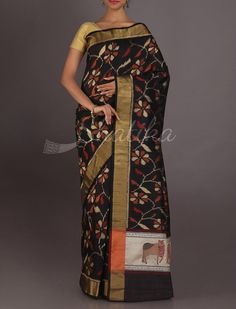 Neelam Tri Band Border Ornate Work #ChikankariSilkSaree