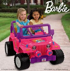 Power Wheels® Barbie™ Jammin' Jeep® Wrangler: Real driving excitement for one or two!