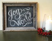 Holiday Chalkboard Sign - Rustic Christmas Decor - Joy To The World Sign  - Framed Chalkboard Art - Christmas Sign - Typography Art