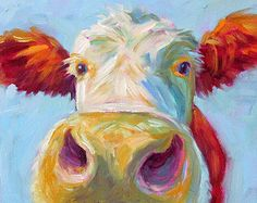 Cow Cow Art Cow Print Paper Canvas by betsymclellanstudio