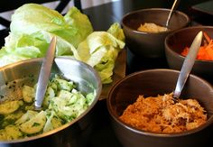 Lettuce Wraps - These are a delicious low calorie dinner!  We love lettuce wraps, we order them all the time when we go out to eat, but I think they taste even better when you make them yourself.  This recipe is really simple but it all tastes so good when it is put together.