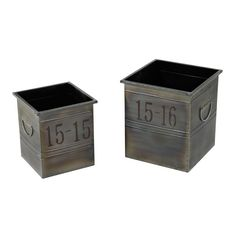 Sterling Industries 26-8667/S2 Industrial Planters - Set of Two Oxidized Metal Home Decor Accents Planters
