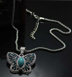 Size: 45-50cm(17.55-19.5inch) adjustable approximately   Material: Tibet silver, Synthetic Turquoise