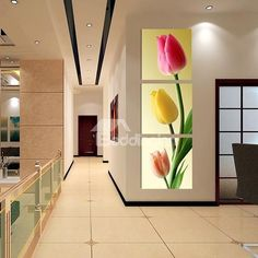 Modern Colorful Tulip Pattern 3-Panels Frameless Wall Art Prints on sale, Buy Retail Price Prints at Beddinginn.com