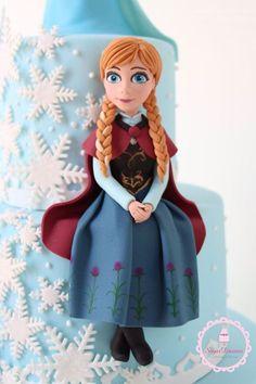 Princess Anna Cake for an Anna themed Frozen Birthday Party Anna Frozen Cake, Anna Cake, Disney Frozen Cake, Disney Cakes, Elsa Frozen, Fondant People, Frozen Themed Birthday Party, Fondant Figures Tutorial, Princess Anna