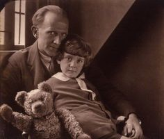 The original Christopher Robin and Winnie the Pooh, with Alan Milne.