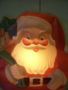 Vintage Light Up Wall Christmas Santa Claus Decoration
