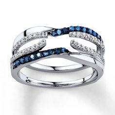 Blue/White Diamonds 3/8 ct tw Enhancer Ring 14K White Gold