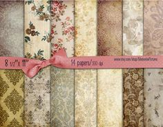 Digital Scrapbooking Papers pack // vintage  brown  //  Flowers roses damask // decoupage scrap  // 8.5 x 11 in sheets  14   (020us) MemoriesPictures 4.00 USD