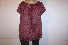 ANN TAYLOR LOFT Shirt Blouse M Short Sleeves Black Pink Geometric Womens #AnnTaylorLOFT #Blouse #Casual