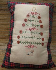 Handmade Primitive Christmas Tree Pillow. $16.00, via Etsy.