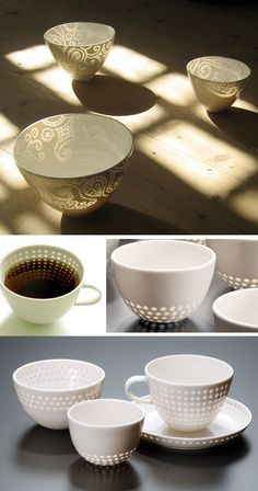 Spotted with light: nice ceramic cups