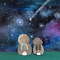 bunny rabbit nursery wall art original painting for children kid room decor starry nigh sky artwork whimsical rabbits mom and baby