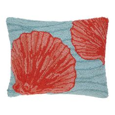 "<p> <span style=""font-weight: bold;"">Blue Ocean Shell Hook Pillow </span>is 100% cotton. Rich coral  colored salloped shell on a blue wave colored background. <br /> See matching  <span style=""font-weight: bold;"">pillows</span>.Add any of the Blue Ocean coastal pillow and make a complimenting pillow grouping on your sofa or be..."