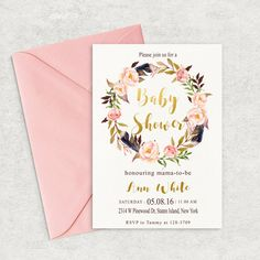 Boho baby shower invitation Tribal Feather Baby by MagicPaperPrint