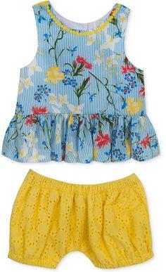 b70d67636b Rare Editions 2-Pc. Floral-Print Top   Bloomer Shorts Set