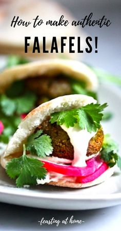 Authentic Falafel Recipe with Creamy Tahini Sauce Authentic Falafel Recipe made with soaked chickpeas, not canned. This recipe, hands-down has the BEST texture and flavor! Vegan and Gluten-free. Authentic Falafel Recipe, Best Falafel Recipe, Easy Healthy Recipes, Vegetarian Recipes, Cooking Recipes, Antipasto, Sauce Tahini, Falafels, Homemade Pita Bread