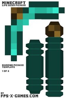 Minecraft life sized diamond pickaxe template 1 of 4